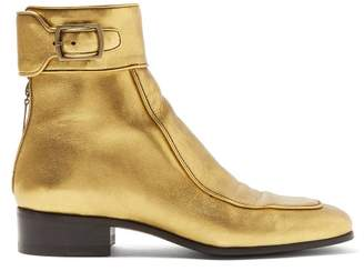 Saint Laurent Miles Metallic Leather Ankle Boots - Womens - Gold