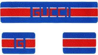 Gucci stripe headband and wrist cuffs