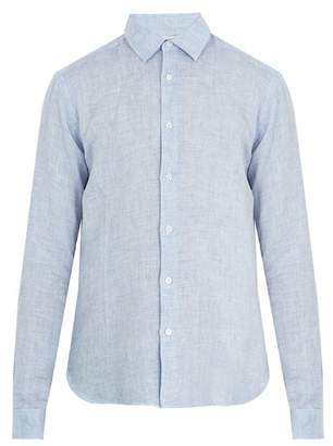 Orlebar Brown Morton Tailored Linen Shirt - Mens - Light Navy