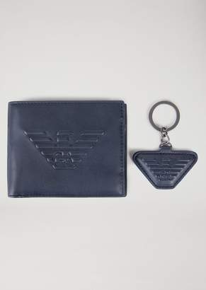 Emporio Armani Branded Wallet And Key Ring Gift Set