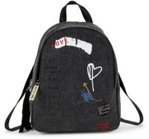 Peace Love World Small Printed Canvas Backpack