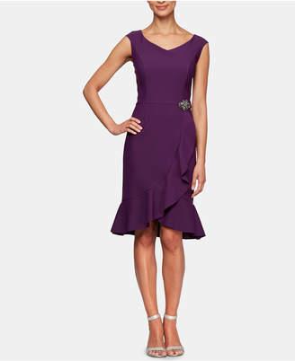 Alex Evenings Embellished Ruffle-Hem A-Line Dress