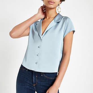 River Island Blue satin crop shirt