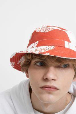 Band Of Outsiders Marble Red Tencel Hawaiian Bucket Hat
