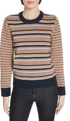 Tory Burch Stripe Metallic Sweater