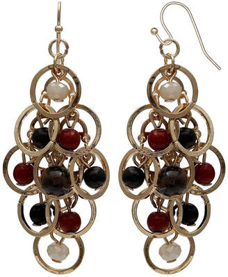 MIXIT Mixit Black Red & Animal Gold Chandelier Earrings