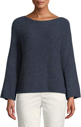 Eileen Fisher Alpaca-Cotton Boat-Neck Pullover Sweater