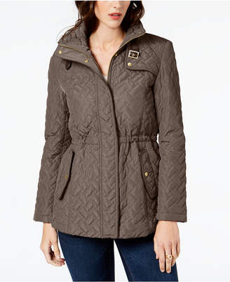 Cole Haan Quilted Faux-Leather-Trim Anorak Coat