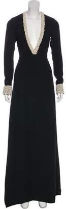 Rachel Zoe Embellished Long Sleeve Maxi Dress