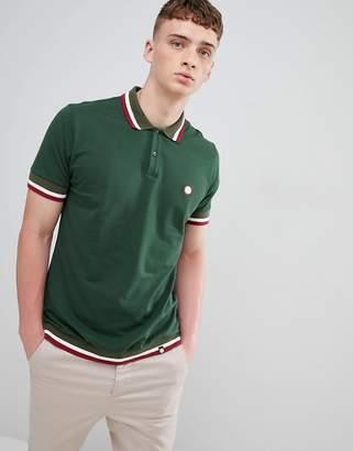 Pretty Green tipped polo shirt in dark green