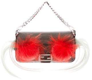 Fendi Fur-Trimmed Monster Micro Baguette