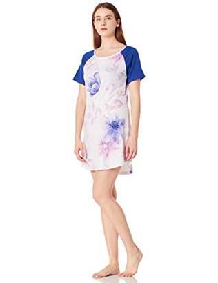 Selene Women's Round Neck Pajama Dress Soft Nightgown Short Sleeve Floral & Bird Printed S