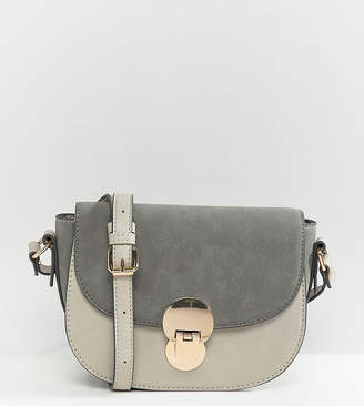 Accessorize Tessa grey lock cross-body saddle bag