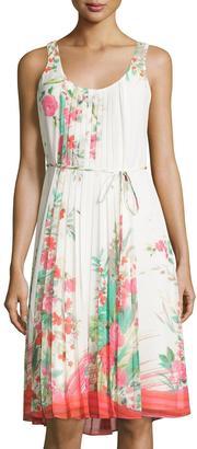 Donna Morgan Sleeveless Pleated Floral-Print Tank Dress, Geranium Print $129 thestylecure.com