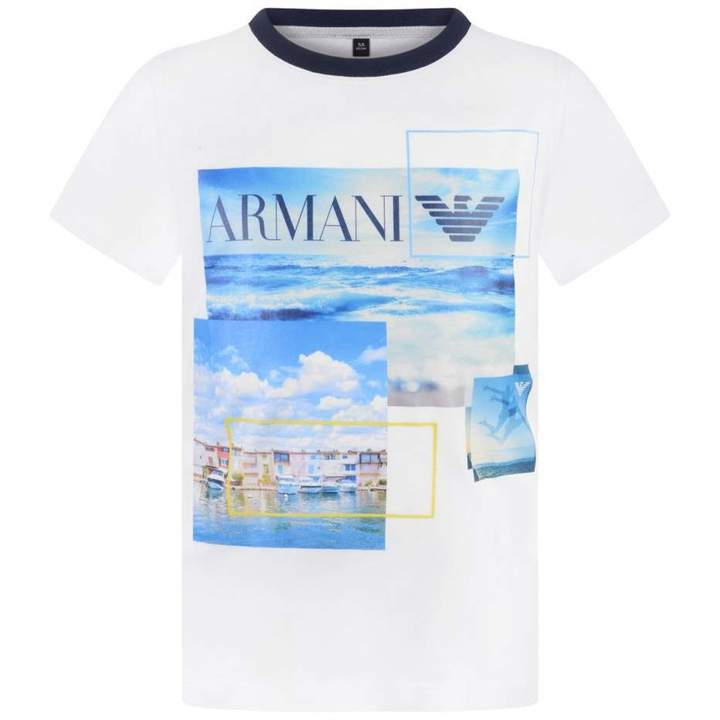 Armani JuniorBoys White Marina Print Top