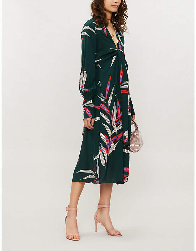Knotted-front floral-print silk midi dress