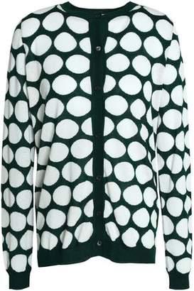 Marni Cutout Printed Stretch-Knit Cardigan
