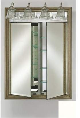 Afina Corporation DD-LT2434RCOLWT 24 in.x 34 in.Recessed Double Door Cabinet with Traditional Lights - Colorgrain White