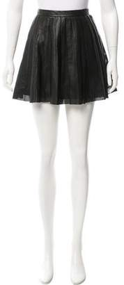 Theory Pleated Leather Skirt