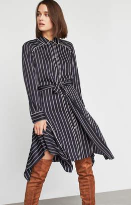 BCBGMAXAZRIA Asymmetrical Striped Satin Dress