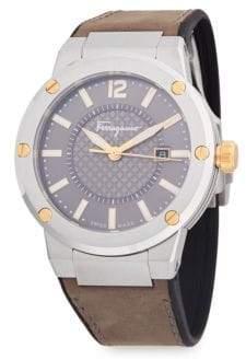 Salvatore Ferragamo Stainless Steel Analog Leather-Strap Watch