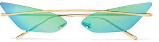 Cat Eye Poppy Lissiman - Skinny Demon Cat-eye Gold-tone Mirrored Sunglasses - Green