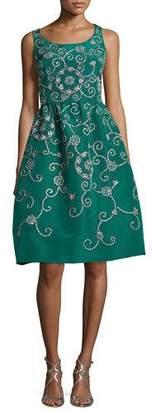 Oscar de la Renta Embroidered Floral Scroll Full-Skirt Party Dress, Green