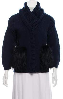 Burberry Fur-Trimmed Wool Cardigan