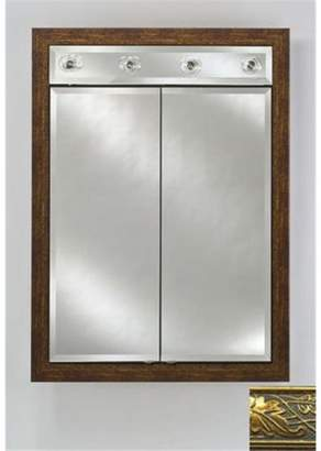 Afina Corporation DD-LC2434RARSGD 24 in.x 34 in.Recessed Double Door Cabinet with Contemporary Lights - Aristocrat Gold