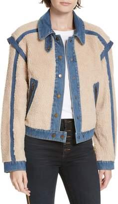 Veronica Beard Potter Fleece & Denim Jacket