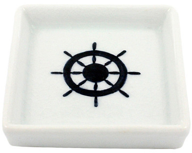 Oceania Ceramic Wheel Tray, White