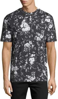 McQ Dropped-Shoulder Floral-Print T-Shirt