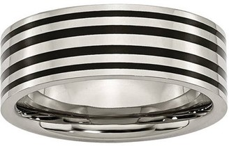 Primal Steel Titanium Black Enamel Flat 8mm Polished Band