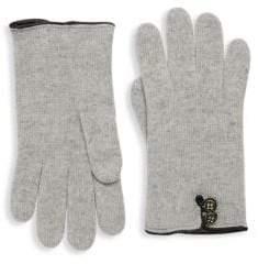 Portolano Leather-Trimmed Cashmere Gloves