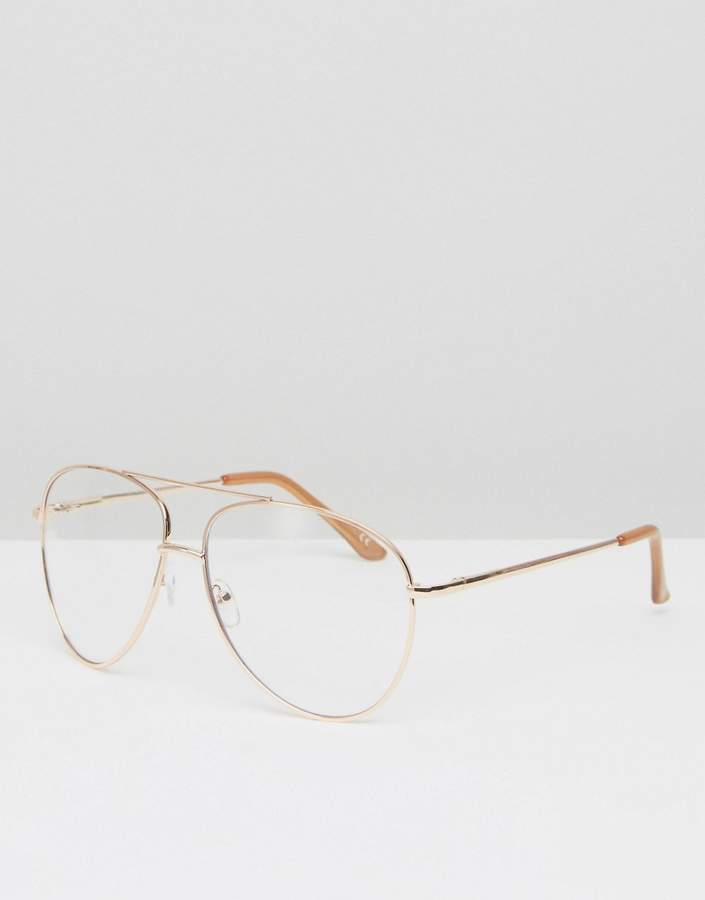 ASOS DESIGN geeky metal frame aviator with clear lens and top bar in rose gold