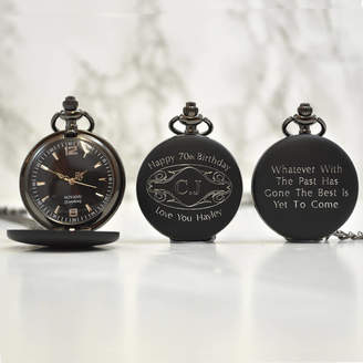GiftsOnline4U Personalised 70th Birthday Gift Pocket Watch Initials
