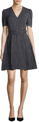 Co V-Neck Short-Sleeve Belted Striped Crinkle Cotton Dress