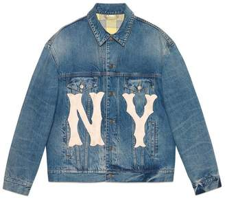 Gucci Men's denim jacket with NY YankeesTM patch