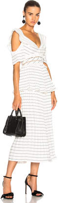 Self-Portrait Monochrome Stripe Midi Dress Black & White