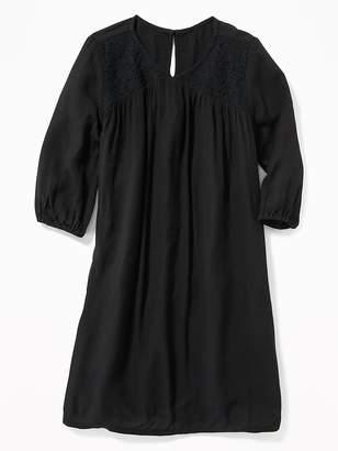 Old Navy Lace-Yoke Crinkle-Gauze Swing Dress for Girls