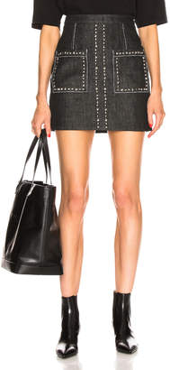 Proenza Schouler Stud Embroidery Mini Skirt in Black & Silver | FWRD