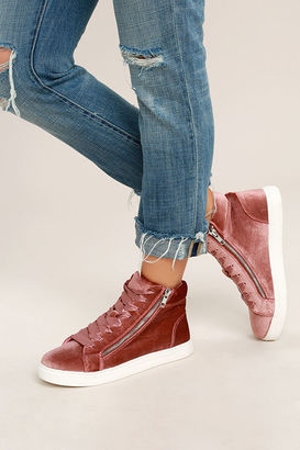 Madden Girl Eppic Blush Velvet High-Top Sneakers $49 thestylecure.com