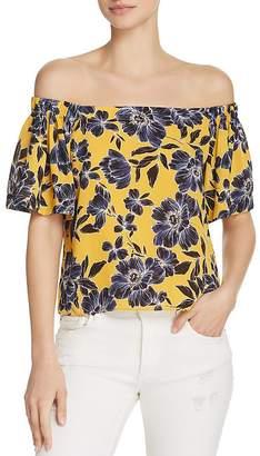 Olivaceous Floral Print Off-the-Shoulder Top
