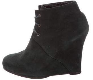 Opening Ceremony Suede Wedge Ankle Boots