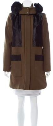 Zac Posen Aster Fox Fur-Trimmed Coat w/ Tags