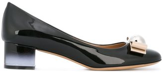 Salvatore Ferragamo bow detail mid-heel pumps $505.02 thestylecure.com