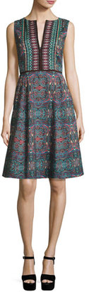 Nanette Lepore Sleeveless Kaleidoscope A-Line Dress, Dark Green $448 thestylecure.com