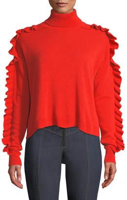 Cinq à Sept Tous Les Jours Savanna Ruffle-Trim Cashmere Turtleneck Sweater