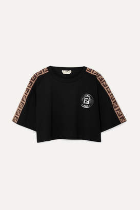Fendi Fendirama Cropped Jacquard-trimmed Cotton-jersey T-shirt - Black