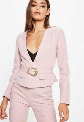 Missguided Nude Cropped Western Belt Blazer